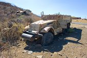 stock photo of army  - Army truck left of the yom kippur war on  - JPG