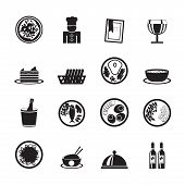 Silhouette Restaurant, food and drink icons