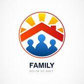 Family In House, Vector Illustration. Real Estate Logo Design Template