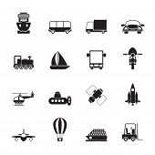 Silhouette Transportation, travel and shipment icons