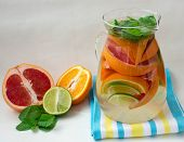 a refreshing drink of orange, grapefruit, lime and mint