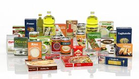 picture of packages  - 3D collection of packaged food isolated on white background  - JPG