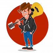 stock photo of rockabilly  - Man with a guitar - JPG