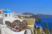 pic of canopy roof  - Blue and white Church in Santorini Greece - JPG