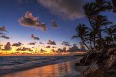 picture of caribbean  - Sunrise on the beach of caribbean sea Punta Cana Dominican Republic - JPG