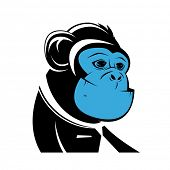 stock photo of chimp  - business ape with blue face - JPG
