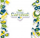 stock photo of brazil carnival  - Bright vector carnival icons and sign Welcome to Carnival - JPG