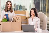 picture of packing  - Smiling young businesswomen working and packing boxes in office. ** Note: Soft Focus at 100%, best at smaller sizes - JPG