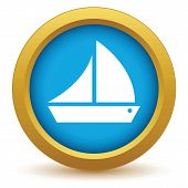 picture of brigantine  - Gold ship icon on a white background - JPG