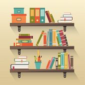 picture of book-shelf  - Shelves with colorful books in flat design style - JPG