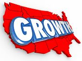 stock photo of population  - Growth word on a red 3d map of the United States of America to illustrate increase in population - JPG