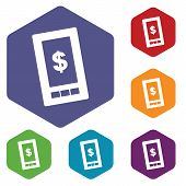 foto of tariff  - Dollar phone icon on a white background - JPG