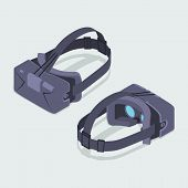 picture of isometric  - Set of the isometric virtual reality headsets - JPG