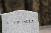 picture of headstones  - A headstone in a cemetery in Upstate New York - JPG