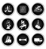 pic of ppe  - Black and white construction manufacturing and engineering health and safety related icon set isolated on white background - JPG