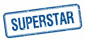 stock photo of superstars  - superstar blue square grungy vintage isolated stamp - JPG