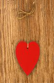 picture of soulmate  - Love heart hanging on wooden texture background valentines day card concept - JPG