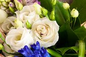 pic of ring  - beautiful wedding ring in a wedding bouquet of flowers - JPG