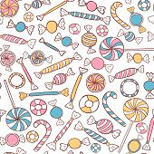 stock photo of candy  - Candies Seamless Pattern Hand Drawn - JPG