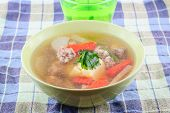 foto of curd  - clear soup with bean curd and minced pork image - JPG