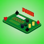 picture of roulette table  - Casino set on a green background - JPG