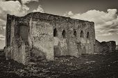 picture of hacienda  - old abandoned church that later was hacienda landowners and now lies abandoned and almost ruined by human carelessness - JPG
