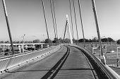 foto of suspension  - modern new bicycle and pedestrian suspension bridge in zwolle netherlands - JPG