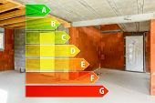 foto of efficiencies  - Real ecological house in construction with energy efficiency rating - JPG