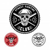 stock photo of brass knuckles  - Vector illustration street fighting club emblem with skull brass knuckles bats chain and cap - JPG