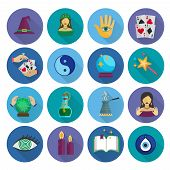 image of fortune-teller  - Fortune teller and future prediction icons long shadow flat set isolated vector illustration - JPG