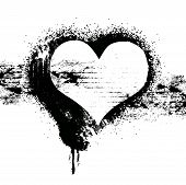 image of splayed  - vector grunge heart symbol design - JPG