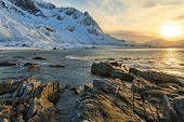pic of lofoten  - The coast of the Lofoten Islands in Norway - JPG