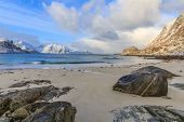 pic of lofoten  - Bright white sand and crystal blue water make this a popular destination for holiday makers on Lofoten - JPG