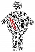 stock photo of obesity children  - Word cloud illustration related to obesity - JPG