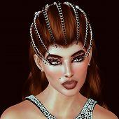stock photo of tiara  - Brunette with diamonds and black onyx tiara with matching dress - JPG