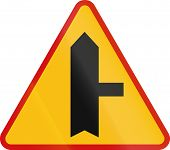 stock photo of intersection  - Polish danger warning sign - JPG