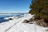 pic of crevasse  - Sea ice is destroyed in the spring White sea Russia - JPG