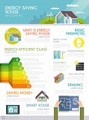 image of business class  - Energy saving house infographics set with smart home monitoring symbols and charts vector illustration - JPG