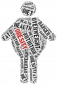 image of obese children  - Word cloud illustration related to obesity - JPG
