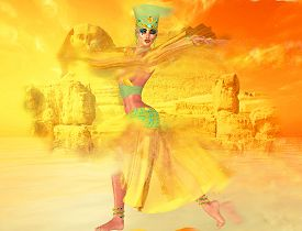 image of sandstorms  - Egyptian woman in desert sandstorm with sphinx and ancient ruins in the background - JPG
