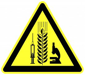 foto of modification  - Warning sign and food label for grain products with genetic modification - JPG