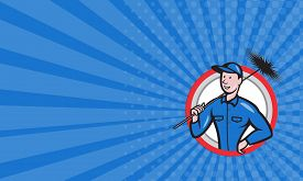 picture of sweeper  - Business card showing illustration of a chimney sweeper cleaner worker with sweep broom viewed from front set inside circle done in cartoon style - JPG