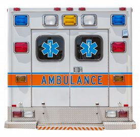 picture of emergency light  - Back side of an ambulance car for emergency rescue - JPG