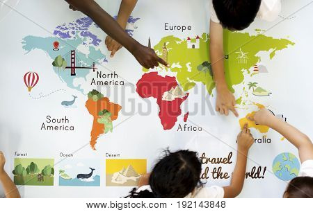 poster of Kids Learning World Map with Continents Countries Ocean Geography