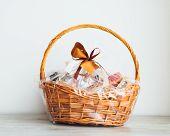 gift basket on grey background poster
