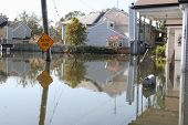 stock photo of katrina  - this photo shows the flooding incurred in new orleans in the aftermath of hurricane katrina - JPG