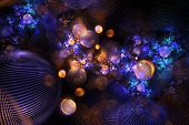 Abstract Orange And Blue Textured Bubbles On Black Background. Fantasy Fractal Design. Psychedelic D poster