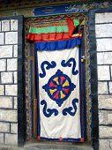 Patterned Door Curtain Of A Tibetan House, Tibet