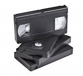 detail of classic vhs cassette isolated on white