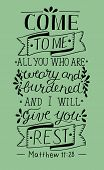 Biblical Hand Lettering Come To Me poster
